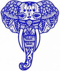 Tribal elephant embroidery design 2