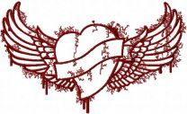 Tribal heart and wings embroidery design