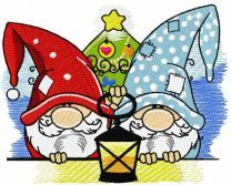 Two Christmas dwarves with lantern embroidery design