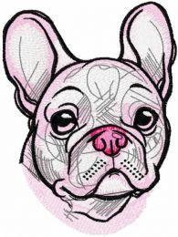 White french bulldog embroidery design