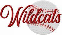 Wildcats baseball logo embroidery design