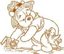 Winnie Pooh feeds duck