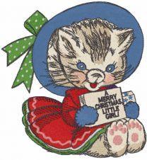 Winter vintage kitten embroidery design