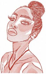Woman beauty sketch embroidery design