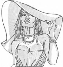 Woman in awide brimmed hat greyscale embroidery design