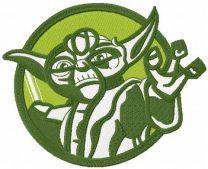 Yoda badge embroidery design