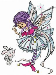 Young fairy with bunny