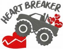 Young heart breaker embroidery design