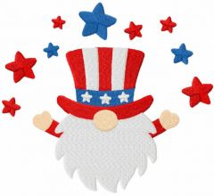 4th of july gnome embroidery design