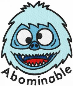 Abominable head embroidery design