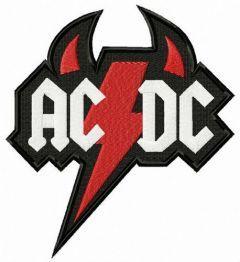AC/DC devil logo embroidery design