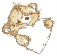 Adorable bear with heart embroidery design