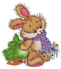 Adorable bunny with tiny fir tree embroidery design