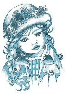 Adorable little girl embroidery design