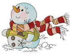 Adorable snowman embroidery design