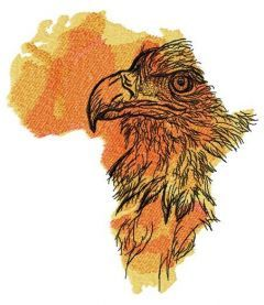 Africa crowned eagle embroidery design