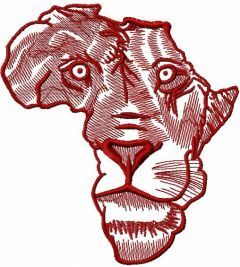 Africa lion 3 embroidery design