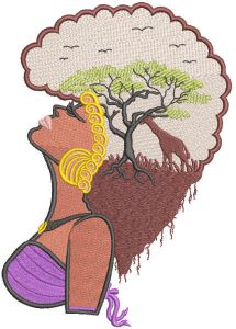 Africa woman embroidery design