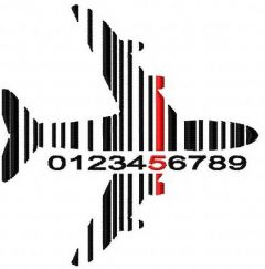 Airplane barcode embroidery design
