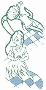 Alice catching bottle embroidery design