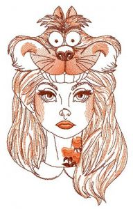 Alice with Cheshire cat hat sketch embroidery design