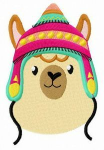 Alpaca with colorful hat embroidery design