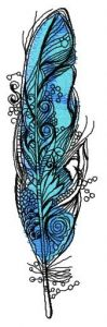 Amazing blue feather embroidery design