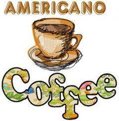 Americano coffee embroidery design