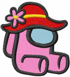 Among us with summer hat embroidery design