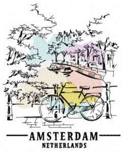 Amsterdam Netherlands embroidery design