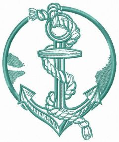 Anchor and rope embroidery design