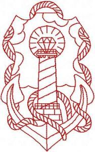 Anchor and lighthouse embroidery design
