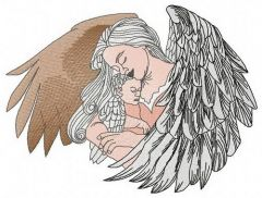 Angel with newborn embroidery design