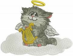 Angelic cat embroidery design