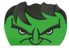 Angry hulk's face embroidery design