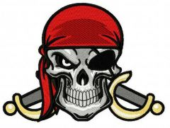 Angry pirate's skull 2 embroidery design