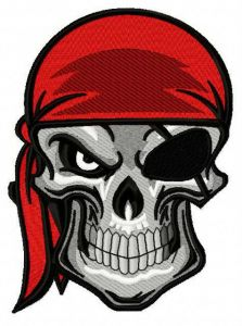 Angry pirate's skull 3 embroidery design