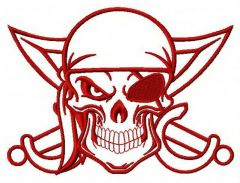 Angry pirate's skull machine embroidery design 5