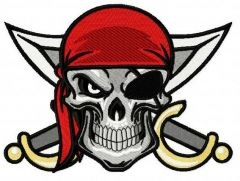 Angry pirate's skull embroidery design