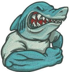 Angry shark machine embroidery design