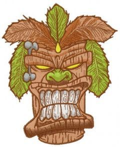 Angry totem embroidery design