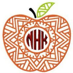 Apple with NHK letters embroidery design