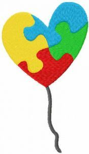 Autism puzzle heart free embroidery design