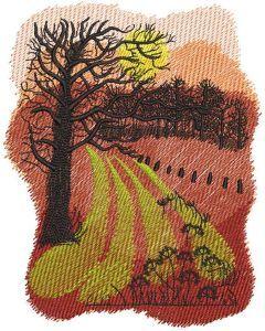 Autumn arable land embroidery design