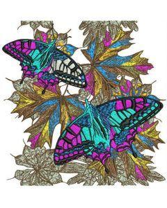 Autumn butterflies machine embroidery design