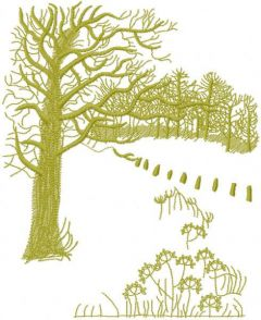 Autumn forest and field embroidery design