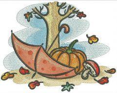 Autumn machine embroidery design