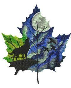 Autumn leaf maple leaf embroidery design