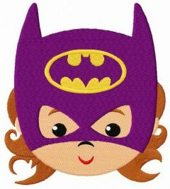 Baby Batwoman face embroidery design
