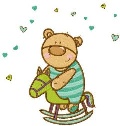 Baby bear riding horse embroidery design